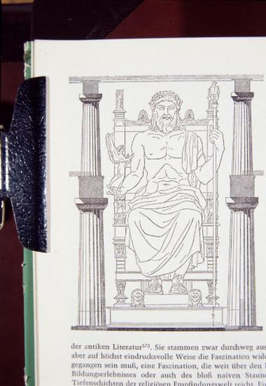 Σχεδιαστική αναπαράσταση του χρυσελαφάντινου αγάλματος του Δία