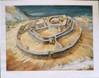 Υδατογραφία, αναπαράσταση του νεολιθικού οικισμού του Διμηνίου Μαγνησίας (του Β. Ζήση, 1957).