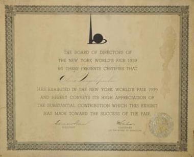 Τιμητικό δίπλωμα για τη συμμετοχή της Ελένης Πασχαλίδου - Ζονγολοπούλου στη Διεθνή Έκθεση Νέας Υόρκης 1939