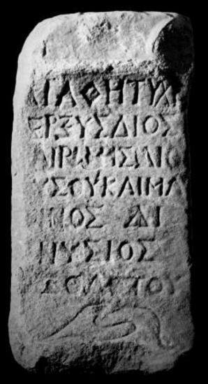 IThrAeg E195: Αναθηματικός βωμίσκος του Διονυσίου, γιου του Θεοδότου, ιερέως του Διός, της Ρώμης και του Μάρωνος
