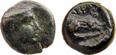 Χάλκινο νόμισμα Μακεδονικού βασιλείου, Βασιλιάς: Αέροπος, Bronze coin of the Macedonian kingdom, Ruler: Aeropos