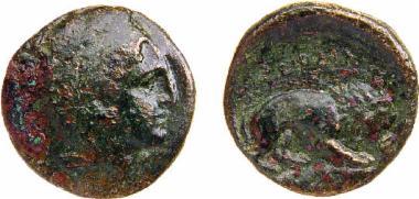 Χάλκινο νόμισμα Μακεδονικού βασιλείου, Βασιλιάς: Περδίκκας Γ', Bronze coin of the Macedonian kingdom, Ruler: Perdikkas III