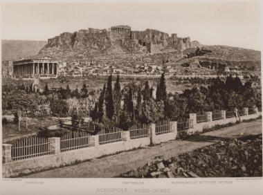 Ο ναός του Ηφαίστου (Θησείο) στον χώρο της Αρχαίας Αγοράς και η Ακρόπολη από τα βορειοδυτικά.