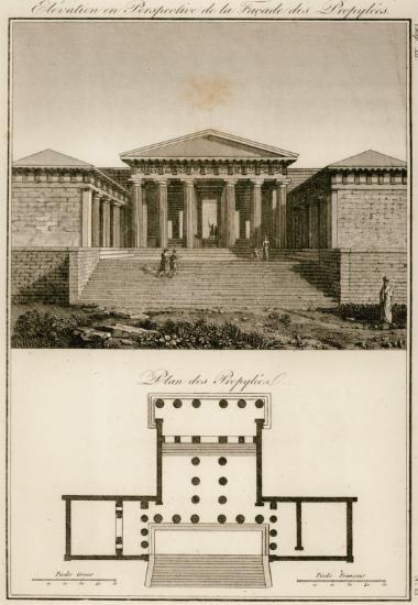 Άποψη και κάτοψη των Προπυλαίων του Παρθενώνα (φανταστική αναπαράσταση).
