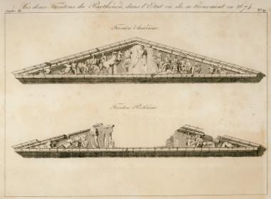 Τα αετώματα του Παρθενώνα στην κατάσταση στην οποία σώζονταν το 1674. Ανατολικό αέτωμα.
