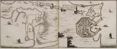 Χάρτης της πόλης και των λιμανιών της Ρόδου.