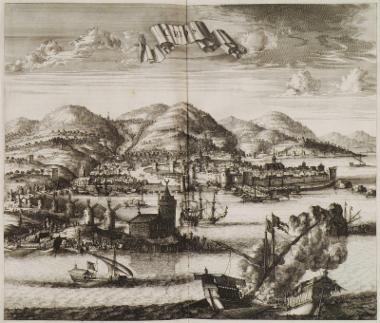 Άποψη της πόλης της Χίου με το λιμάνι.