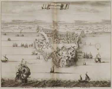 Χάρτης της πόλης του Ρεθύμνου με το λιμάνι και τα περίχωρα.