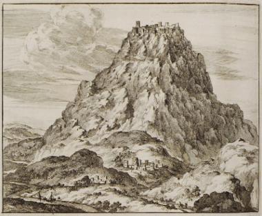 Άποψη του φρουρίου του Μπελβεντέρε ή Ριζόκαστρου νότια του Ηρακλείου, στην πεδιάδα της Μεσαράς.