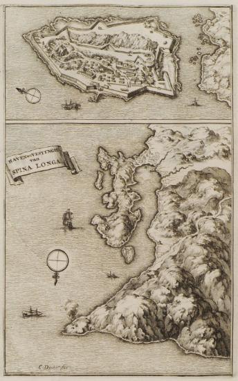 Χάρτης της Σπιναλόνγκα και χάρτης του κόλπου της Σπιναλόνγκα.