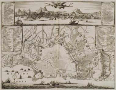 Άποψη του λιμανιού και χάρτης του Ηρακλείου.