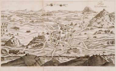 Ο χάρτης της Αθήνας που σχεδίασαν οι Γάλλοι καπουτσίνοι μοναχοί γύρω στο 1670.
