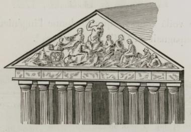 Το δυτικό αέτωμα του Παρθενώνα κατά τον Ζακόμπ Σπόν (J. Spon).