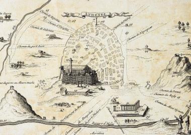 Χάρτης της πόλης των Αθηνών κατά τον Ζακόμπ Σπόν (J. Spon).