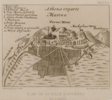 Χάρτης της πόλης των Αθηνών κατά τον Τζώρτζ Γουίλερ (G. Wheler).
