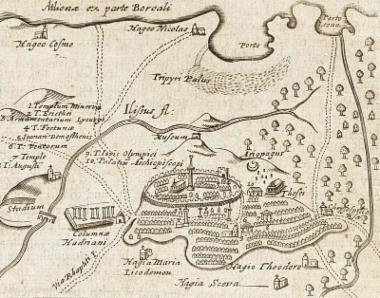 Χάρτης της πόλης των Αθηνών από τον Τζώρτζ Γουίλερ (G. Wheler).