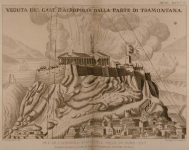 Άποψη της Ακρόπολης τη στιγμή της ανατίναξης του 1687.