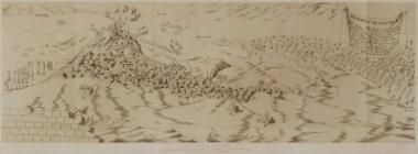 Άποψη της Αθήνας από τα βορειοανατολικά, την ώρα του βομβαρδισμού της Ακρόπολης από τους Βενετούς τον Σεπτέμβριο του 1687. Σχέδιο του μηχανικού λογαγού Βερνέντα.