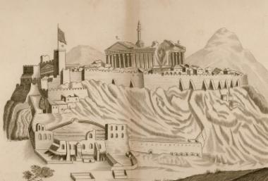 Άποψη της Ακρόπολης από τα νότια, σχέδιο του μηχανικού λογαγού Βερνέντα.
