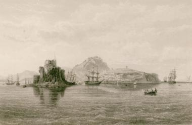 Άποψη του Ναυπλίου. Διακρίνονται σε πρώτο επίπεδο το Μπούρτζι, σε δεύτερο η Ακροναυπλία και στο βάθος το Παλαμήδι.