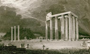 Ο ναός του Ολυμπίου Διός στην Αθήνα.