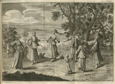 Κυκλικός χορός Ελληνίδων με ενδυμασίες από διάφορες περιοχές. Στο 1: Ελληνίδα από τη Σμύρνη· στο 2: Γυναίκα της Πάτμου· στο 3: Γυναίκα από τη Xίο· στο 4 και το 6: Γυναίκα από τη Βουλγαρία· στο 5: Γυναίκα από την Tήνο και τα γύρω νησιά· στο 7: Νεαρή κοπέλα από τη Σμύρνη.