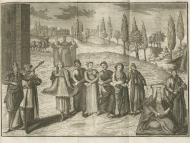 Φανταστική απεικόνιση ελληνικού γάμου. Ο συγγραφέας δανείζεται τις ανθρώπινες μορφές και τις ενδυμασίες από μια άλλη δημοφιλή έκδοση, αυτήν με τους ανθρώπινους τύπους από το Λεύκωμα του ζωγράφου Van Mour, η οποία είχε κυκλοφορήσει λίγα χρόνια νωρίτερα.