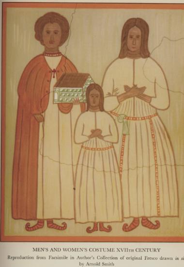 Ανδρική, γυναικεία και παιδική ενδυμασία του 17ου αιώνα, από τα Νένητα Χίου. Νωπογραφία από την εκκλησία της Παναγιάς Κυράς Βελίδαινας - αναπαραγωγή σχεδίου του Arnold Smith, από τη συλλογή του συγγραφέα.