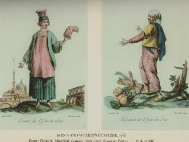 Ανδρικές και γυναικείες ενδυμασίες από τη Χίο, 1788. Από την έκδοση Pierre S. Maréchal, Costumes civils actuels de tous les Peuples, Παρίσι, 1788.