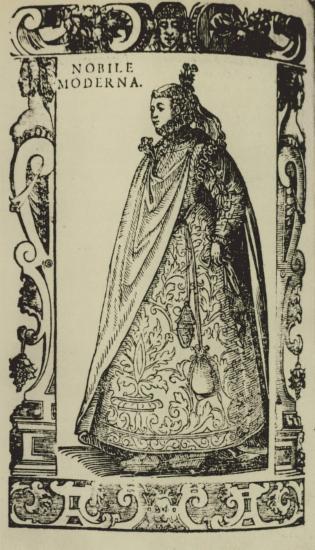 Ενδυμασία ευγενούς Ιταλίδας γυναίκας, 1590. Από την έκδοση: Cesare Vecellio, Degli Habiti Antichi, e Moderni di Diverse Parti del Mondo, Βενετία 1590.