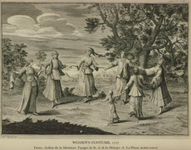 Γυναικείες ενδυμασίες, 1727. Από την έκδοση: Aubry de la Mottraye, Voyages... , Χάγη 1727.
