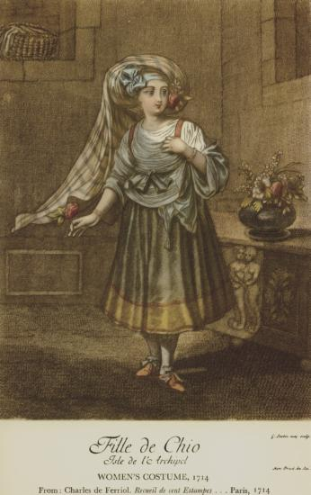 Γυναικεία ενδυμασία από τη Χίο, 1714. Από την έκδοση : [Jean Baptiste Van Mour], Recueil de cent Estampes representant differentes Nations du Levant, Παρίσι, 1714.