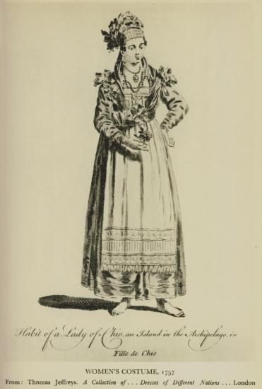 Γυναικεία ενδυμασία από τη Χίο, 1757. Από την έκδοση: A Collection of the Dresses of different Nations, Ancient and Modern, Λονδίνο 1757.