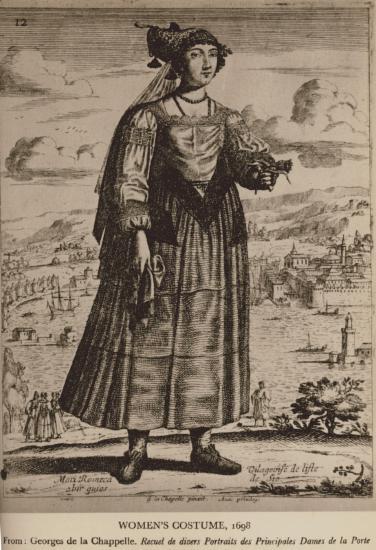 Γυναικεία ενδυμασία από τη Χίο, 1698. Από την έκδοση : Georges de la Chapelle, Recueil de divers Portraits des Principales Dames de la Porte du Grand Turc [Παρίσι 1648].