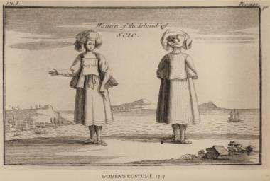 Γυναικεία ενδυμασία από τη Χίο, 1717. Από την έκδοση: Joseph Pitton de Tournefort, Relation d' un Voyage du Levant fait par ordre du Roy, Παρίσι, 1717.