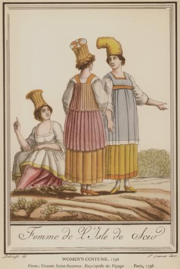Γυναικείες ενδυμασίες από τη Χίο, 1796. Από την έκδοση: André Grasset de Saint-Sauveur, Encyclopédie des Voyages, Παρίσι, 1796.