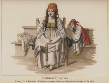 Γυναικεία και παιδική ενδυμασία από τη Χίο, 1805. Από την έκδοση: J.L.S. Bartholdy, Bruchstücke zur nähern Kenntniss des Heutigen Griechenlands, Βερολίνο, 1805.