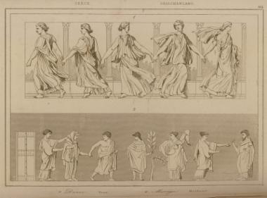 Αρχαίοι ελληνικοί χοροί (1) και σκηνή από γάμο (2).