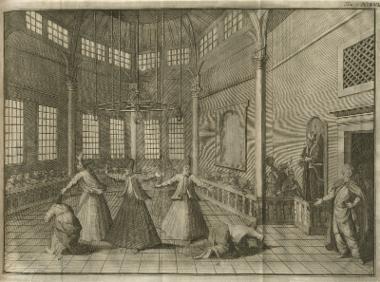 Χορός των δερβίσηδων σε τεκέ της Κωνσταντινούπολης.