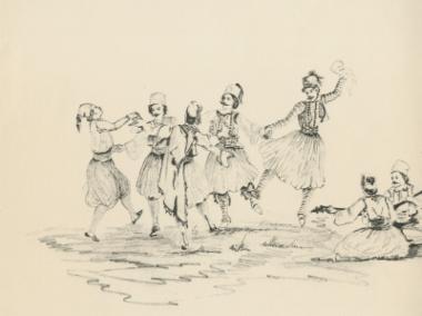 Χορός παλικαριών στην ύπαιθρο.