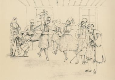 Χορός παλικαριών σε σπίτι της Αττικής.