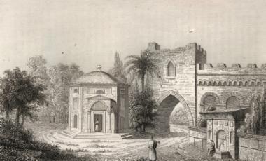 Οθωμανικό ταφικό μνημείο και μέρος των τειχών της Κωνσταντινούπολης.