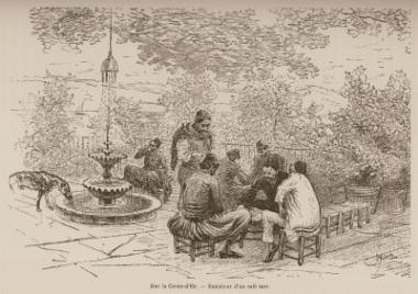 Σκηνή στην αυλή καφενείου στην ακτή του Κερατίου κόλπου.