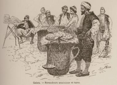 Αρμένιοι και Τούρκοι πλανόδιοι έμποροι στον Γαλατά.