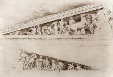 Louis Dupré, Μελέτη των γλυπτών του Παρθενώνα. Ανατολικό αέτωμα. Σχέδιο του Louis Dupré, αντίγραφο από σχέδιο του Jacques Carrey.