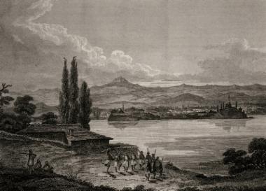 Τα Ιωάννινα από το νησί της Λίμνης. Χαλκογραφία από έκδοση του C.R.Cockerell.