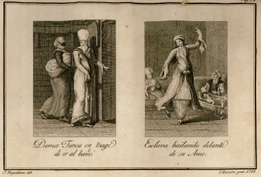 Οθωμανή γυναίκα έτοιμη για να πάει στο δημόσιο λουτρό (χαμάμ). Οθωμανή χορεύτρια