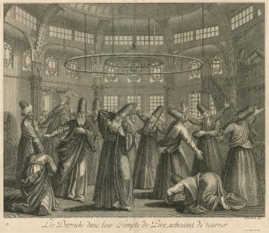 Δερβίσηδες στον τεκέ του Πέρα, ενώ ολοκληρώνουν τον χορό τους.