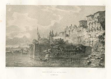Τα θαλάσσια τείχη της Κωνσταντινούπολης και το καφενείο της πύλης του Φαναρίου (σημερινό Μπαλάτ).