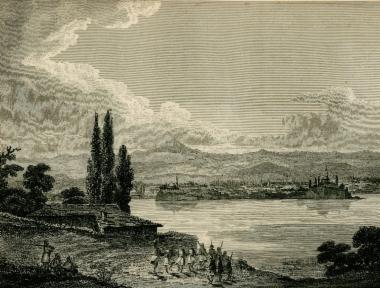 Άποψη των Ιωαννίνων από το Νησί στη λίμνη Παμβώτιδα.